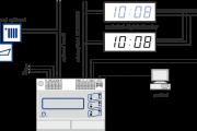 Příklad zapojení hlavních hodin HN 52, nastavení podružné linky - sériový kód MO